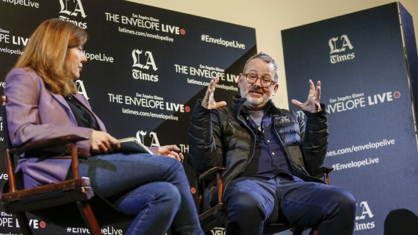 """""""Won't You Be My Neighbor?"""" director Morgan Neville at a Q&A moderated by Los Angeles Times critic Lorraine Ali."""