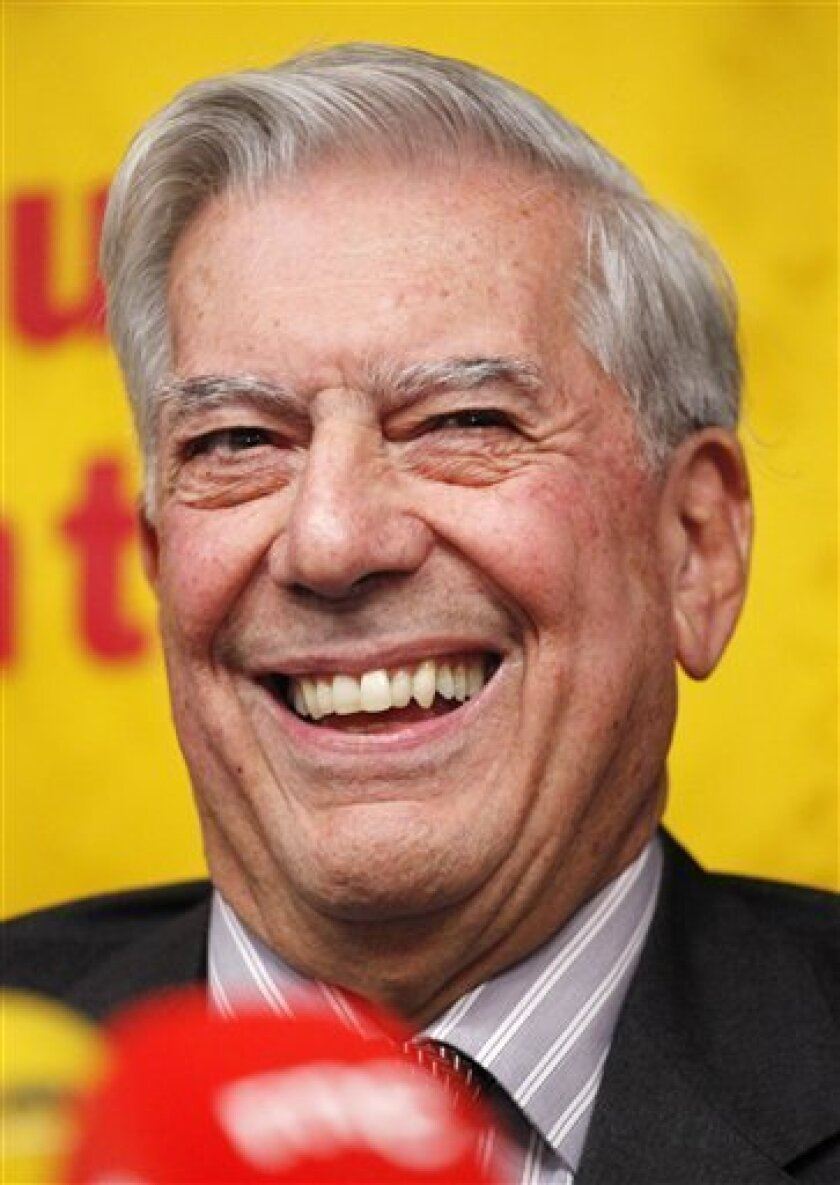 Nobel Laureate Mario Vargas Llosa attends a news conference Thursday, Oct. 7, 2010, in New York. The Peruvian won the 2010 Nobel Prize in literature on Thursday as the academy honored one of the Spanish-speaking world's most acclaimed authors and an outspoken political activist who once came close to being elected president of his tumultuous homeland. (AP Photo/Mark Lennihan)