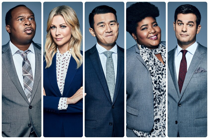 """A five-panel image of """"The Daily Show"""" correspondents in blue and gray business attire"""