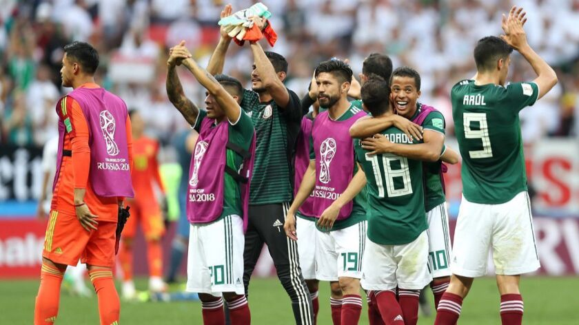 Mexico players applaud fans following their sides victory in the World Cup Russia group F match between Germany and Mexico on June 17.
