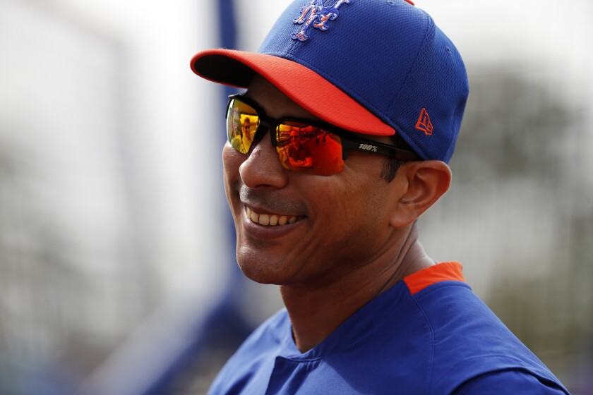 New York Mets manager Luis Rojas is seen during spring training baseball practice Saturday, Feb. 15, 2020, in Port St. Lucie, Fla.