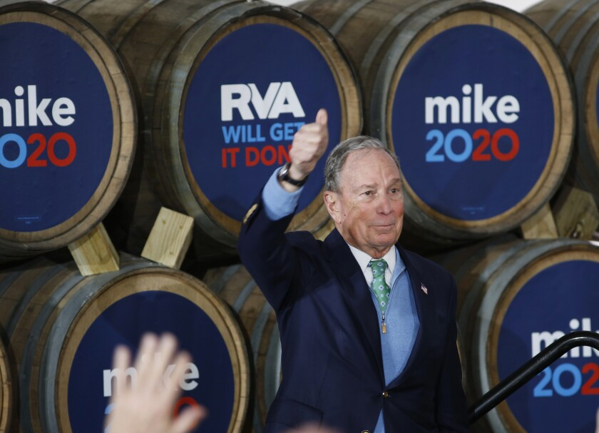 Democratic presidential candidate Michael R. Bloomberg gives his thumbs-up during a campaign event Saturday at Hardywood Park Craft Brewery in Richmond, Va.