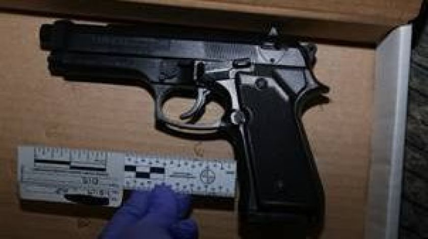 The replica handgun allegedly held by the shooting victim.