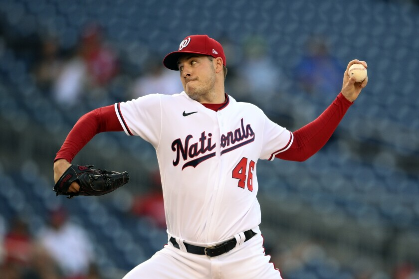 Washington Nationals starting pitcher Patrick Corbin delivers a pitch during the first inning of a baseball game against the Pittsburgh Pirates, Tuesday, June 15, 2021, in Washington. (AP Photo/Nick Wass)