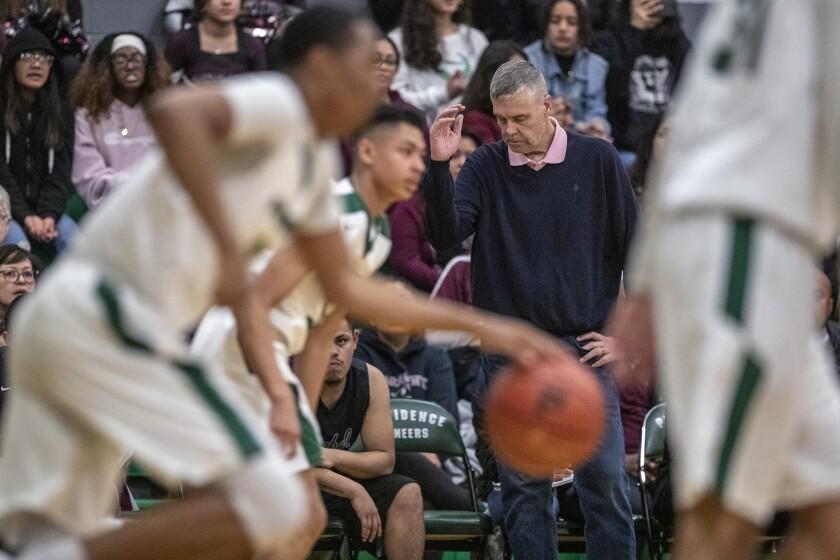 BURBANK, CA, TUESDAY, FEBRUARY 27, 2019 - Roybal High School basketball coach Danny O'Fallon shows f