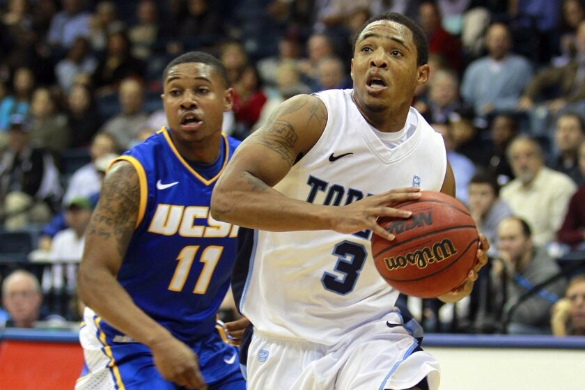 USD's Darian Norris drives to the basket past UCSB's T.J. Taylor.