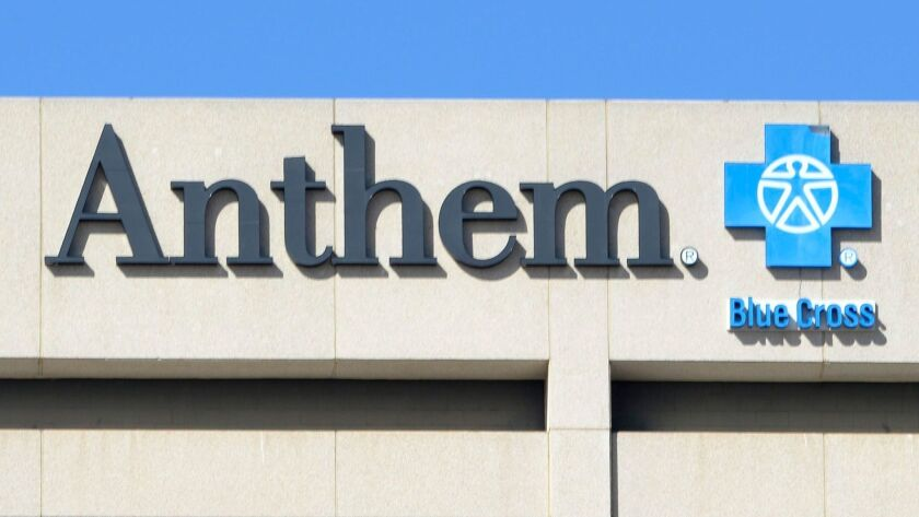 epa04858396 (FILE) A file photo dated 05 February 2015 showing the Anthem Blue Cross logo seen on th