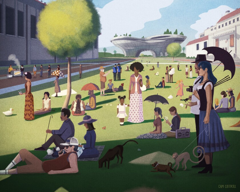 With the futuristic Lucas Museum rising by the Coliseum and the Natural History Museum planning a makeover, can a new plan for the surrounding landscape stitch disparate attractions into a true recreational playground worthy of a Seurat painting?