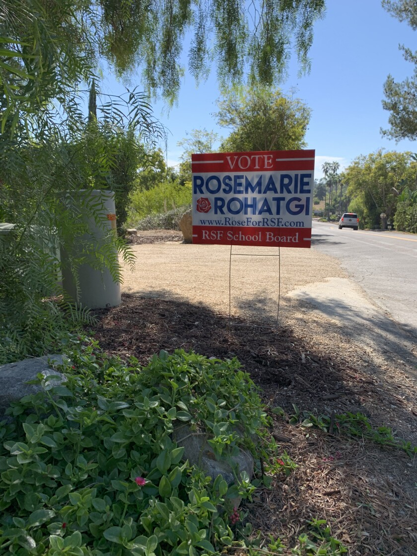 RSF School board candidate Rosemarie Rohatgi had 25 signs stolen during the election season.