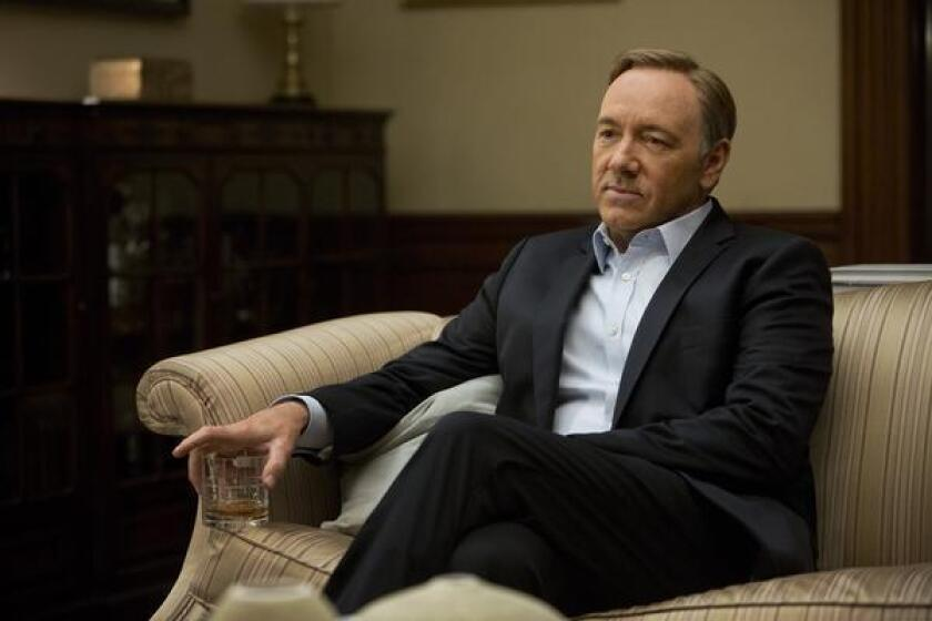 "Kevin Spacey, sans Blackberry, in a scene from the Netflix original series, ""House of Cards."""