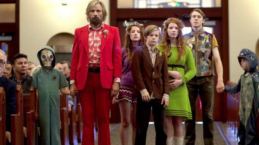 "Shree Crooks, from left, Viggo Mortensen, Samantha Isler, Nicholas Hamilton, Annalise Basso, George MacKay and Charlie Shotwell in ""Captain Fantastic."""