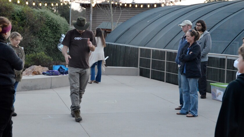 """Bo Glover demonstrates the """"fox walk"""" to the Primitive Skill Society attendees on Saturday at the EN"""