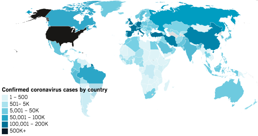 Map of confirmed COVID-19 cases by country as of 9 a.m. Thursday, April 23, 2020