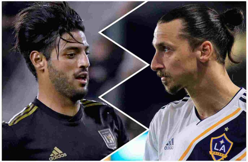 Carlos Vela, left, and Zlatan Ibrahimovic, the league's highest scorers, will meet tomorrow in the MLS quaterfinal match at Banc of California Stadium.