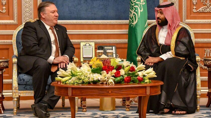 Secretary of State Michael R. Pompeo meets with Saudi Crown Prince Mohammed bin Salman in Riyadh, Saudi Arabia, on Oct. 16.