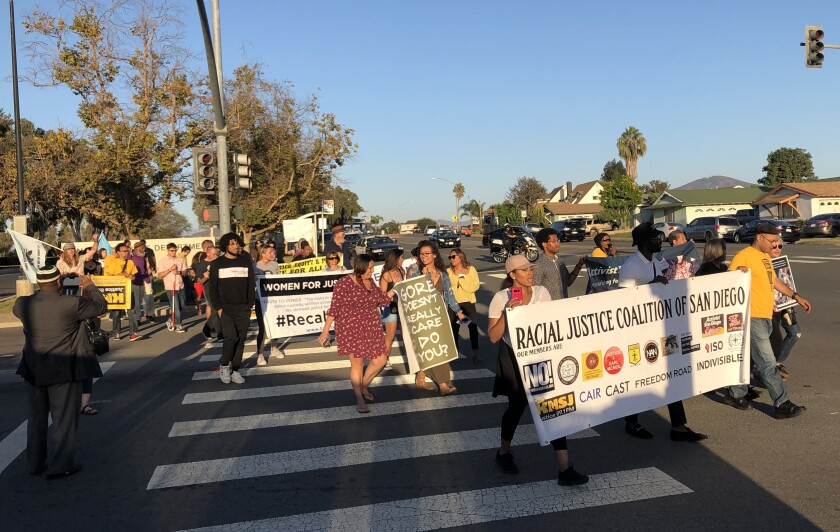 Dozens march against police brutality