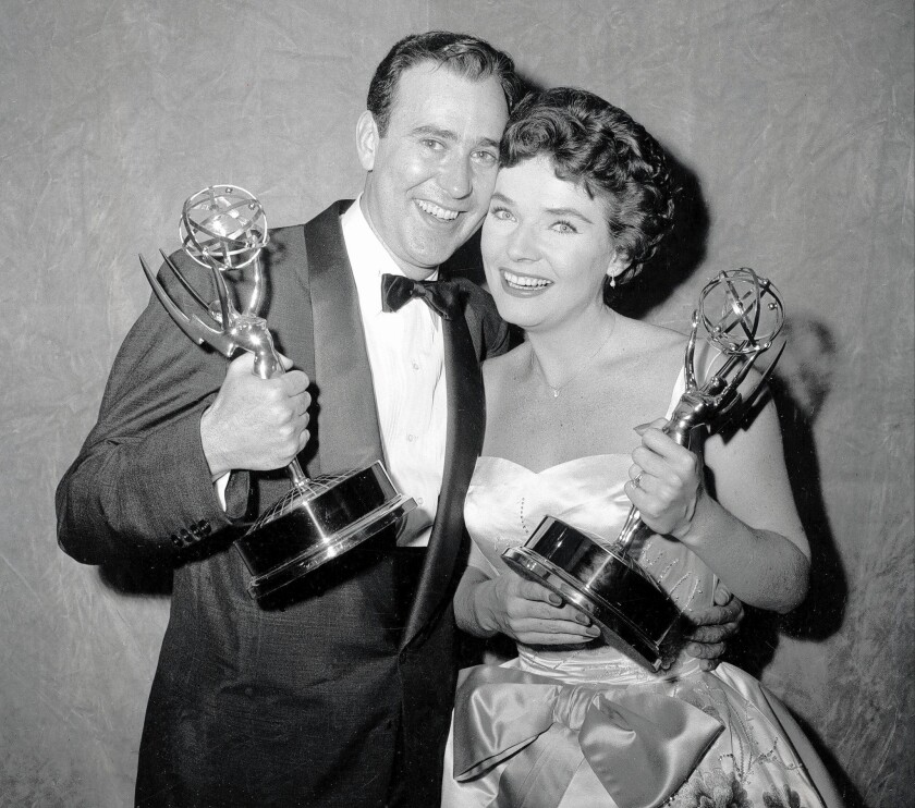 "Carl Reiner and Polly Bergen at the 1958 Emmy Awards. She won in the best actress category for her portrayal of singer Helen Morgan on ""Playhouse 90."""