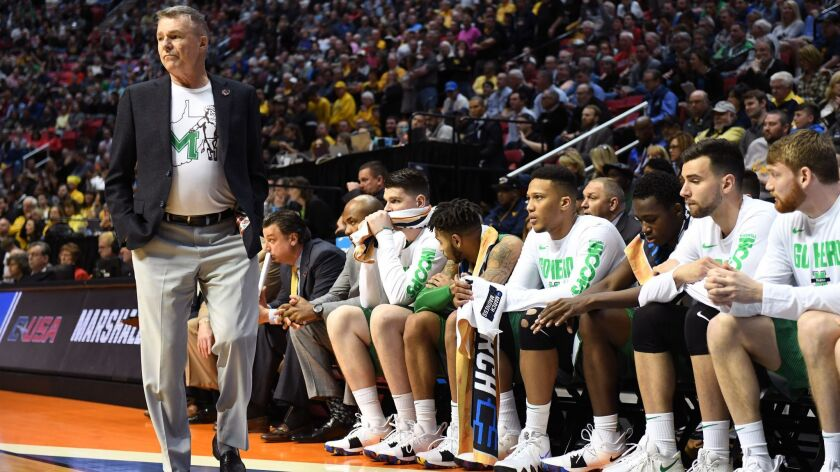 Marshall coach Dan D'Antoni in the Thundering Herd's upset win against Wichita State at Viejas Arena in the NCAA Tournament on Friday.