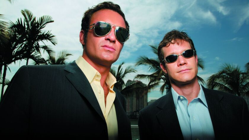 "ET–Nip/Tuck –– L/R Julian McMahon as ""Dr. Christian Troy"" and Dylan Walsh as ""Dr. Sean McNamara"" in"