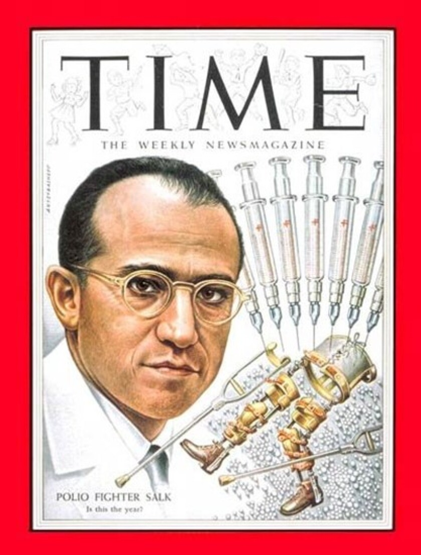 Jonas Salk appears on a March 1954 cover of Time magazine a year before the efficacy of his polio vaccine was announced.