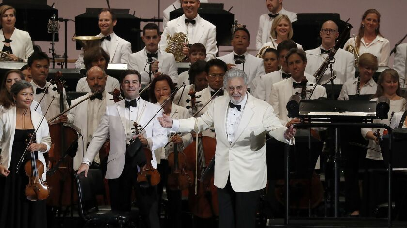 HOLLYWOOD, CALIF.. - SEP. 13, 2018. Placido Domingo conducts music from Spain with the Los Angeles