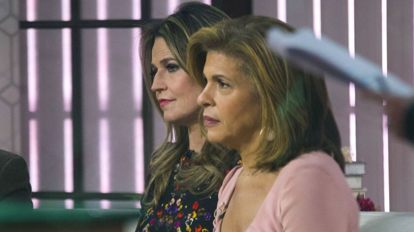"Savannah Guthrie, left, and Hoda Kotb on the set of NBC's ""Today"" after the dismissal of Matt Lauer on Nov. 29, 2017."
