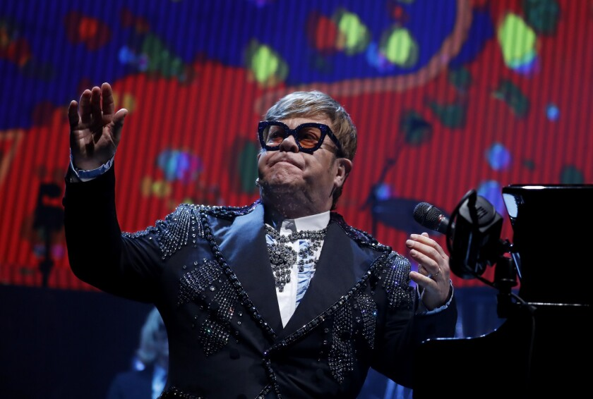 Elton John performing Tuesday night at Staples Center in downtown Los Angeles.