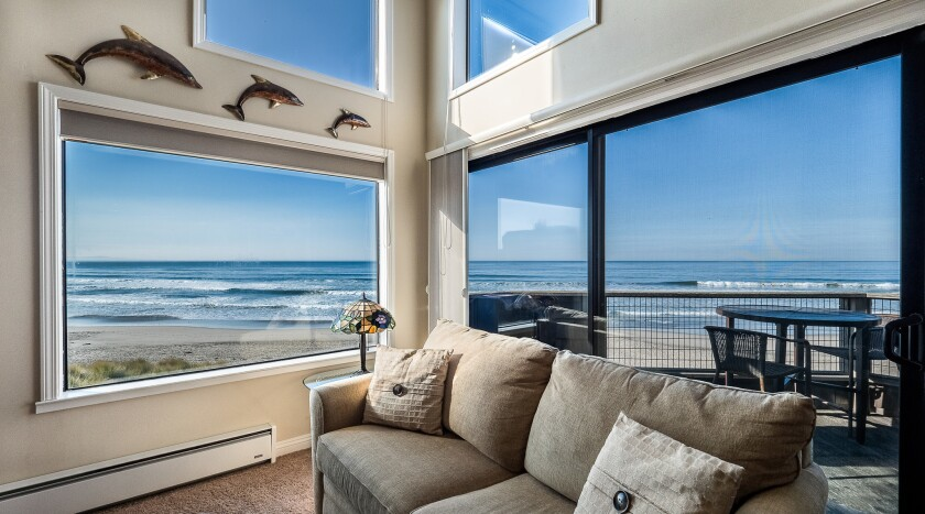 WATSONVILLE, CA -- Ocean view living room at Pajaro Dunes Resort facing Palm State Beach on the Mont