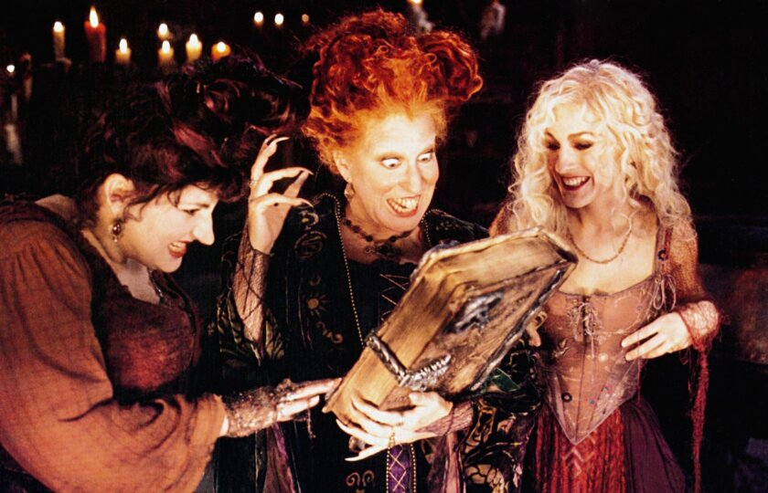 """Hocus Pocus,"" starring (from left) Kathy Najimy, Bette Midler and Sarah Jessica Parker, will be screened at 7:15 p.m. Oct. 27 at Rooftop Cinema Club San Diego at the Manchester Grand Hyatt."