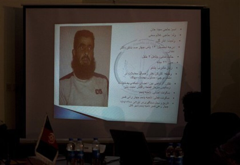 A picture of an Afghan man who was arrested related to the attack on the guest house for U.N. staff on Wednesday projected during a press conference in Kabul, Afghanistan, on Saturday, Oct. 31, 2009. (AP Photo/Farzana Wahidy)