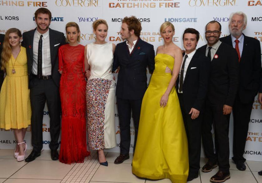 Willow Shield, Liam Hemsworth, Jena Malone, Jennifer Lawrence, Sam Claflin, Elizabeth Banks, Josh Hutcherson, Jeffrey Wright and Donald Sutherland