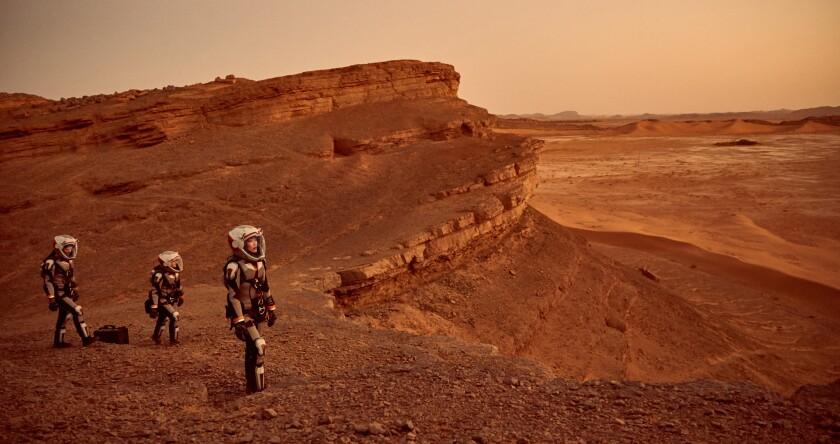 """Una escena de la nueva serie televisiva """"Mars"""", en la que se imagina la llegada del hombre al planeta rojo."""