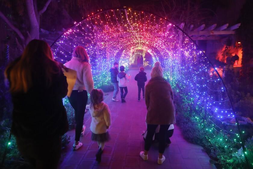 Guests walk down the Technicolor light tunnel.