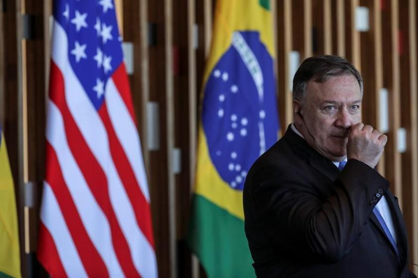 US Secretary of State Mike Pompeo holds a joint press conference with Brazilian Foreign Minister Ernesto Araujo (not shown) on Jan. 2, 2019, in Brasilia, Brazil. EFE-EPA/ Antonio Lacerda