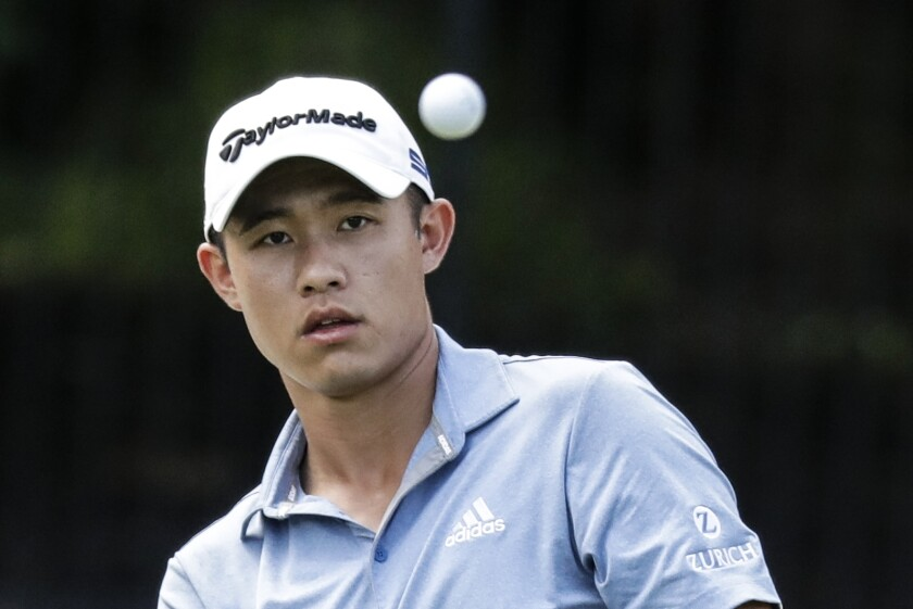 Collin Morikawa watches his shot on the eighth hole during the third round of the Workday Charity Open on July 11, 2020.