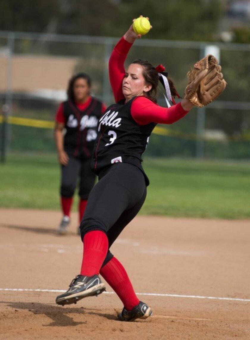 Katja Sarain of La Jolla High School's softball team leads Division IV pitchers in strikeouts with 62. (Photo by Ed Piper)