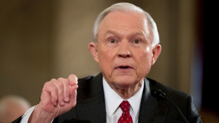 """U.S. Atty. Gen. Jeff Sessions said the task force would help to better coordinate efforts to take cross-border organized crime groups """"off our streets for good."""""""