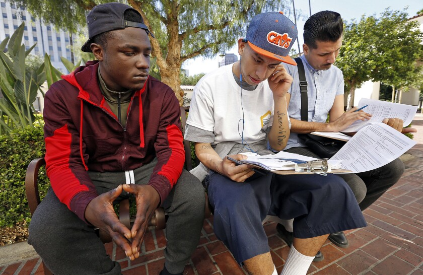 A youth is interviewed at L.A.'s Union Station during a homeless youth count.