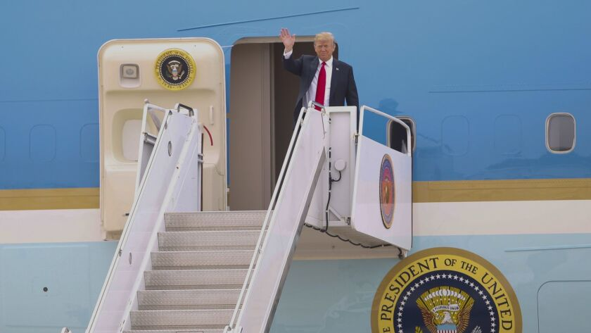 President Donal Trump arrived at MCAS Miramar Tuesday morning before departing on Marine One enrout