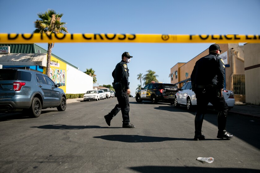 San Diego Police Department officers respond to the sceneof a shooting in July.