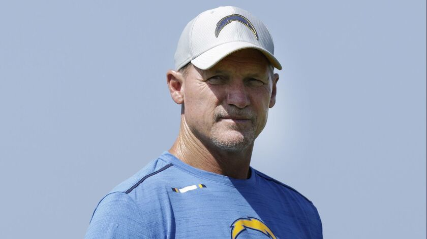 COSTA MESA, CA -- AUGUST 13, 2018: Los Angeles Chargers offensive coordinator Ken Whisenhunt during