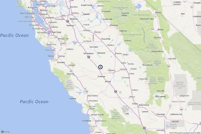 A map showing the location of the epicenter of Thursday afternoon's quake near Cantua Creek, Calif..
