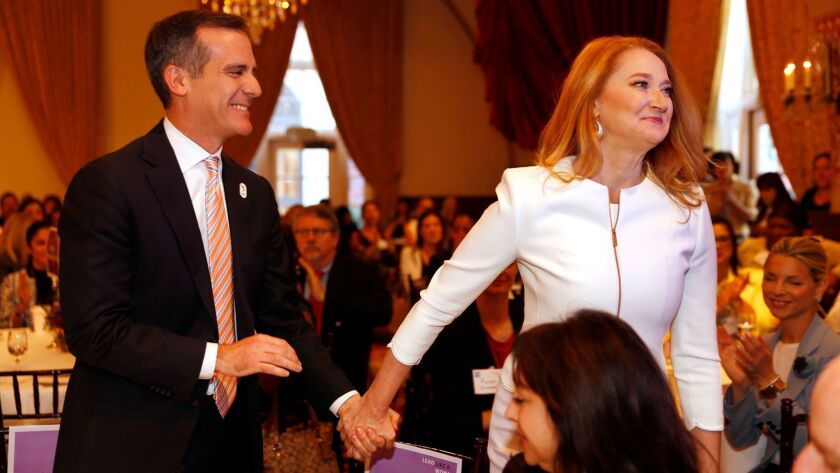 LOS ANGELES, CA - MARCH 14, 2017 - First Lady of Los Angeles, Amy Elaine Wakeland, wife of Los Angel