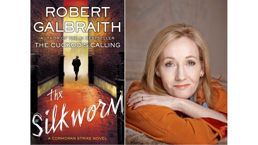 """The cover of """"The Silkworm"""" and author Robert Galbraith, a.k.a. J.K. Rowling."""
