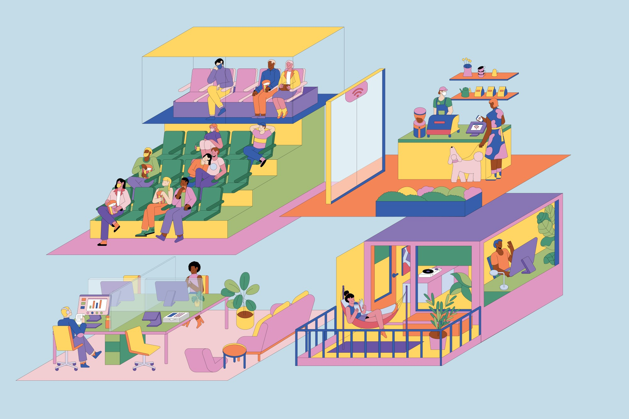An illustration shows the ways in which homes, offices and businesses may be redesigned after the COVID-19 pandemic.
