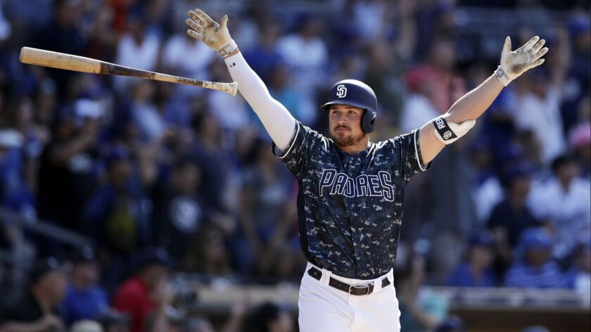 San Diego Padres' Hunter Renfroe reacts after hitting a walkoff grand slam during the ninth inning o