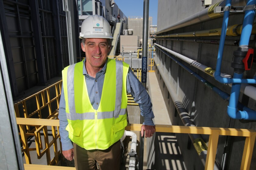 Peter MacLaggan, recently retired senior vice president of Poseidon Water, stands at the Carlsbad desalination plant.