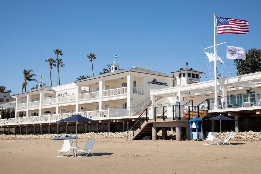 Beachside view looking North at the Rosewood Miramar Beach hotel in Montecito, CA