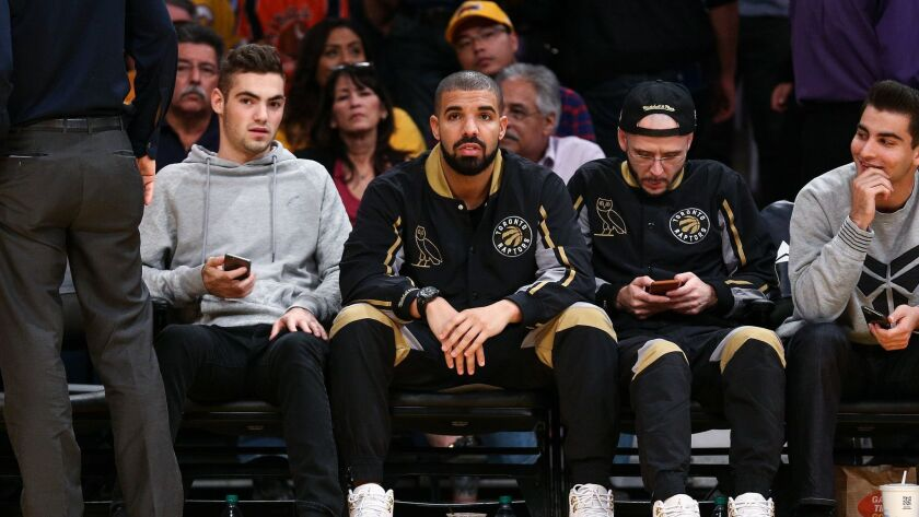 Drake attends a basketball game between the Los Angeles Lakers and Toronto Raptors at Staples Center on Nov. 20, 2015.