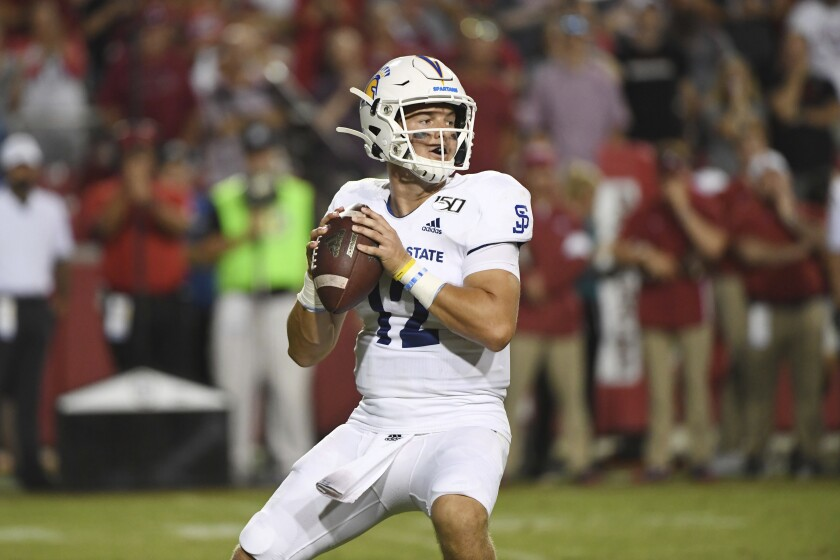 San Jose State's Josh Love ranks sixth among FBS quarterbacks with 303.8 yards passing a game this season for the Spartans.
